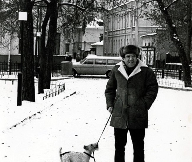 Nikulin with his beloved dog