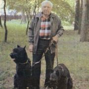 The great clown Yuri Nikulin next to his beloved dog - Risenschnauzer Fedor
