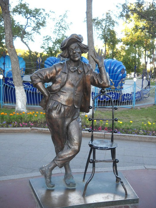 Tyumen, Russia. Monument to circus actor, clown Oleg popov