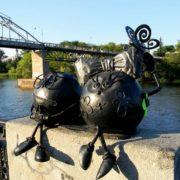 Dnepropetrovsk, Ukraine. Monument to a couple of Koloboks
