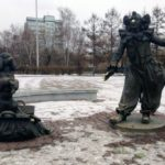 Sunny artist Andrey Pozdeyev monument in Krasnoyarsk