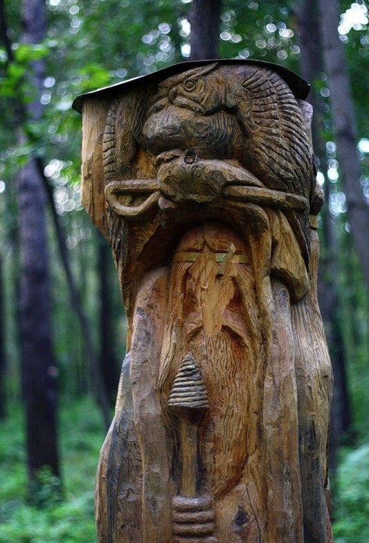 Mysterious sculpture in the Russian forest