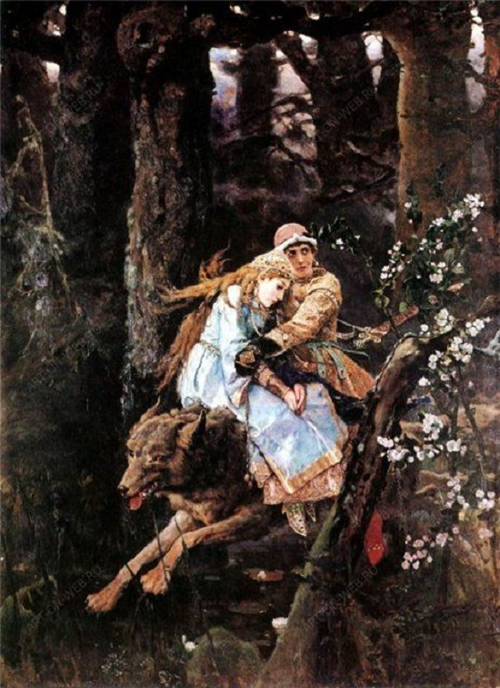 Painting of the Russian artist Viktor Vasnetsov 'Ivan-Tsarevich on the Gray Wolf'