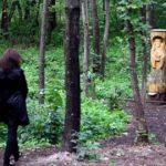 Slavic deities wooden sculpture in Togliatti