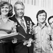 TV presenter Valentina Leontieva, sports commentator Nikolay Ozerov and entertainers Gennady Khazanov and Levon Oganezov. September 6, 1972. Photo by Valery Shustov
