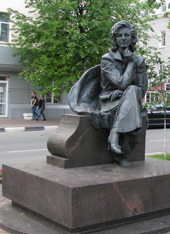 Ulyanovsk, Russia. Soviet TV star Valentina Leontieva monument, opened August 1, 2008. Bronze. Work by sculptor Nikolai Antsiferov