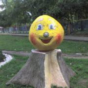 Wooden sculpture of Kolobok in Naberezhnye Chelny, Russia