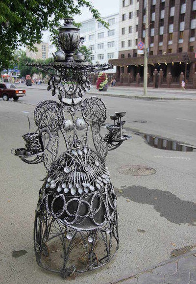 A woman with samovar on her head. Tyumen, Russia