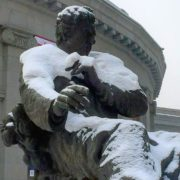 Closeup, the monument to Aram Khachaturian near the Yerevan Opera
