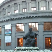 Located in front of the opera House in Yerevan monument to Aram Khachaturian