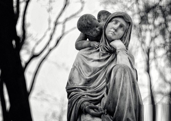 Realistic gravestone sculpture