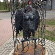 Veliky Novgorod, Russia. A monument to Sirin