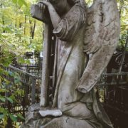 Winged angel sculpture