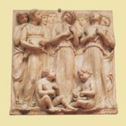 The carvings illustrate the 150th Psalm and depict angels, boys, and girls in song