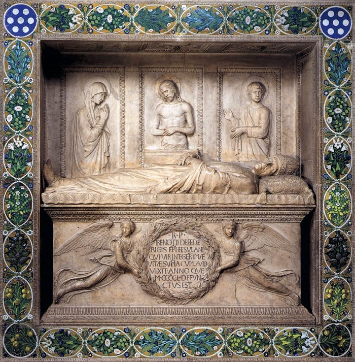 The tombstone of the bishop Benozzo Federigi. 1453. Marble and glazed terracotta. Santa Trinita, Florence