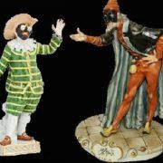 Brighella, Tartaglia, Pantalone and Truffaldino in Carlo Gozzi's fairy tale about the princess Turandot. Developed in the XVIII century, modern porcelain figurines