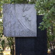 Nikolai Pavlovich Akimov (1901-1968) - Theater director, artist, People's Artist of the USSR. Architectural headstone with a portrait. Sculptor GV Honin. 1974. Photo by Alexander Solovyov
