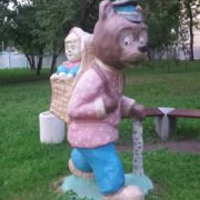 Decorating the yard sculpture of Masha and bear. Moscow
