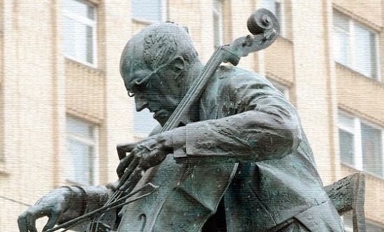 Detail of monument to the outstanding cellist, pianist, conductor, and public figure Mstislav Leopoldovich Rostropovich (27 March 1927 - 27 April 2007)