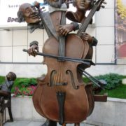 Kharkov, Ukraine. Monument to Cello