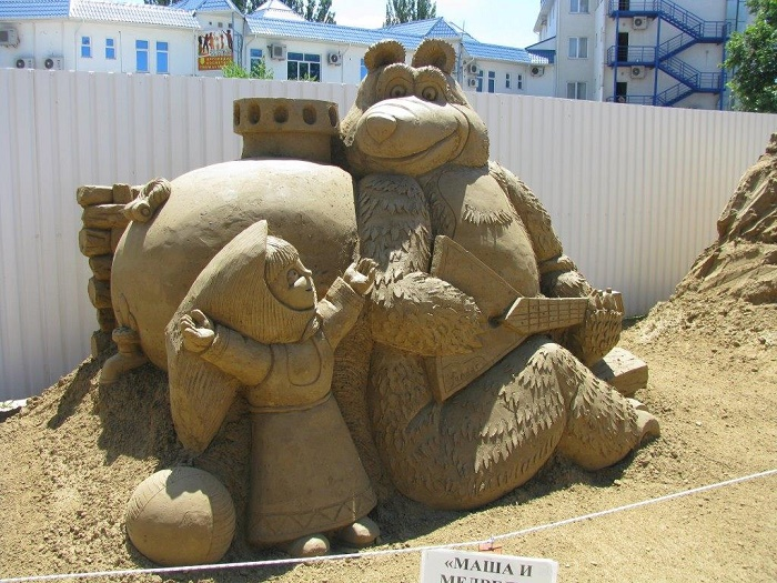Sand sculpture of Masha and bear in Anapa, Russia