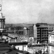 The statue of ballerina Olga Lepeshinskaya on the roof of 17 Gorky street