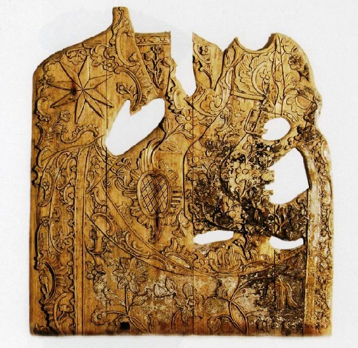Wood Mounting of icon The Holy Virgin Hodigitria. 2d half of the 18th с. Wood, carving, gilding (lost). The Trinity Church, Biezdziezh, Dragichyn district, Brest region