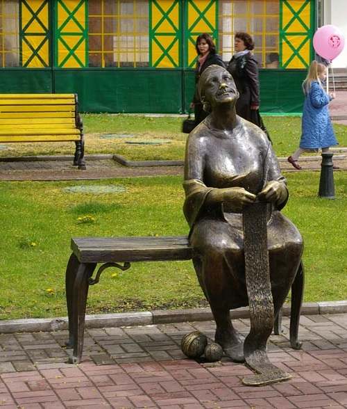 Knitting grandmother monument in Belgorod