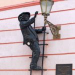 Uncle Kolya. Monument to the lamplighter, Korzo street, Uzhgorod