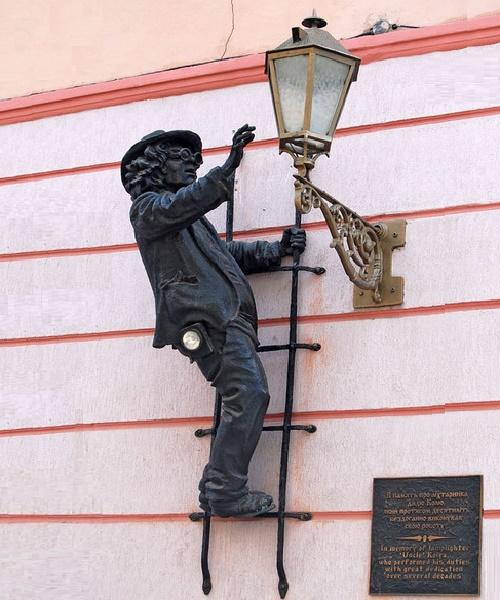 Uncle Kolya. Monument to the lamplighter, Korzo street, Uzhgorod