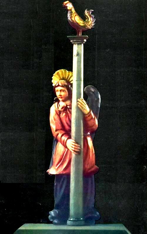 Angel with a column. Village Yazva. Wood, gesso, tempera. XVIII century