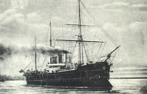 Cruiser Memory of Azov. photo. Russian traditional ship sculpture
