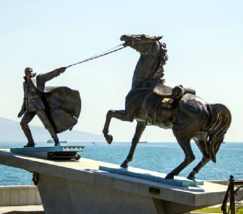 Monument 'Exodus' in memory of those killed in the Civil War in Novorossiysk. The prototype - famous character of Vladimir Vysotsky in the film 'Two Comrades Were Serving'