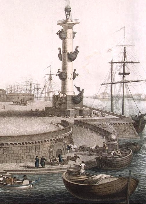 Rostral column of St. Petersburg. Russian traditional ship sculpture