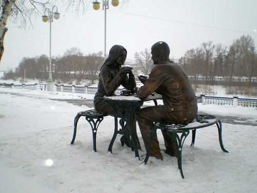 Sculptural Composition 'Meeting' in Vrubel Square of the Siberian city of Omsk, Russia