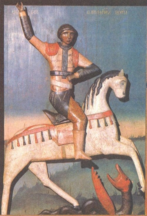 St. George on a white horse