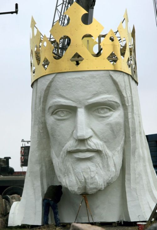 Profile of the head of statue of Jesus Christ