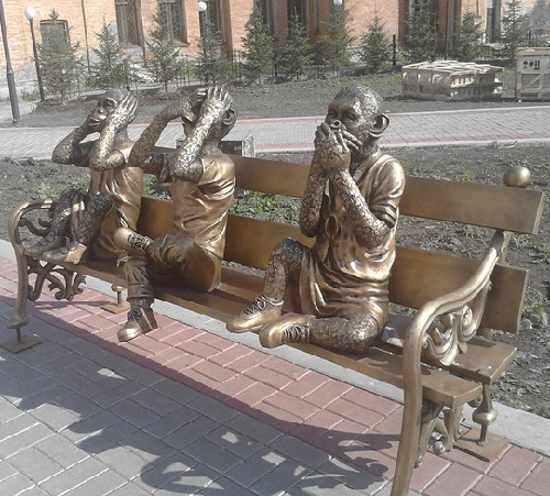 Sculptural composition of three wise monkeys in Irkutsk, Russia