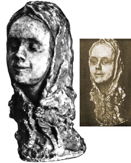The girl in a headscarf (Grunya). Gypsum. 1940