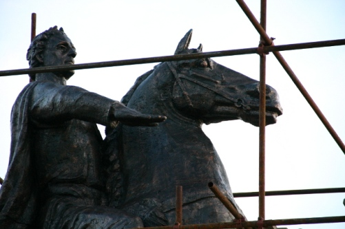 Closeup of the Bronze horseman, copy of the monument to Peter The Great of Russia