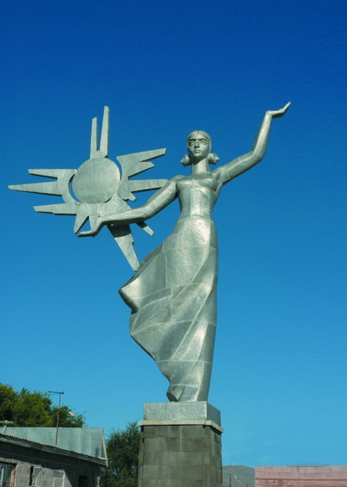 Sunrise. 1967 Aluminum, chasing. Height 9 meters. Author FM Soghoyan. Akhuryan district. Armenia