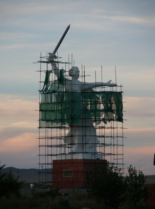 The copy of the Monumental sculpture Motherland Calls' - one of the highest statues of the world, the highest statue in Russia and Europe