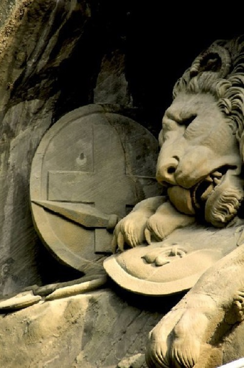 The dying Lion rock relief