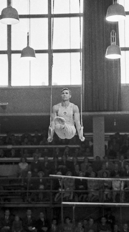Viktor Chukarin, doing gymnastics