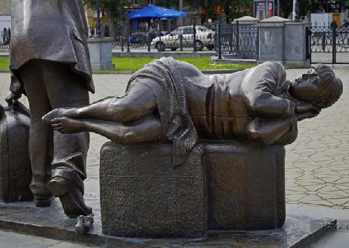 Fragment of sculptural composition 'Passengers'. Yekaterinburg. Russia. Photo Veronika Zubareva