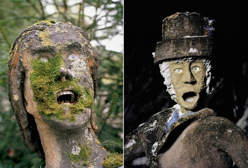 Horror and shock to meet such figures in the forest. Creepy sculptures with human teeth by a local artist Veijo Ronkkonen, Parikkala, Finland