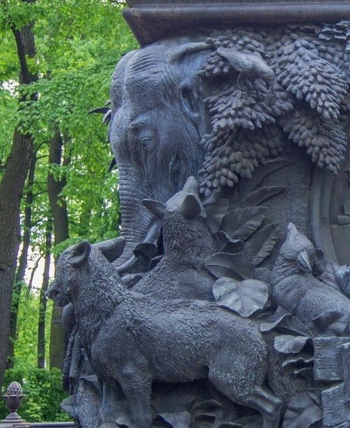 Fable writer Ivan Krylov monument in Saint Petersburg