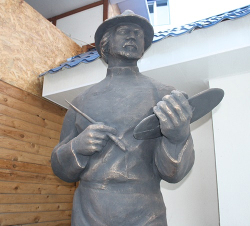 Detail of monument in Konotop. Kazimir Malevich