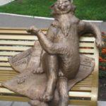 Russian folk character Kolobok monuments