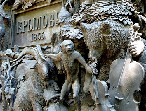 Fragment of Bas-relief. Fable writer Ivan Krylov monument in Saint Petersburg
